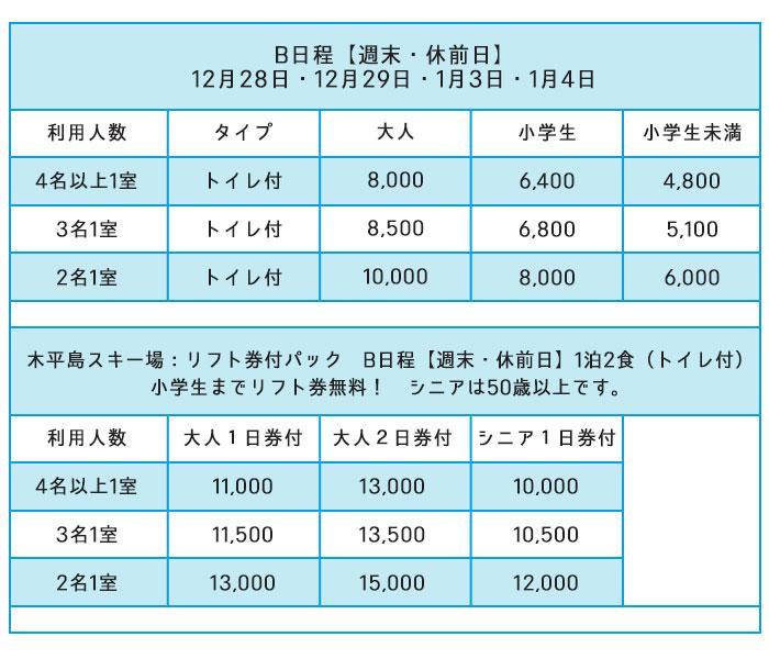 リフト価格表B日程
