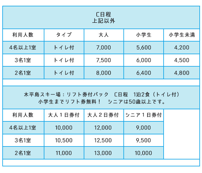 リフト価格表C日程